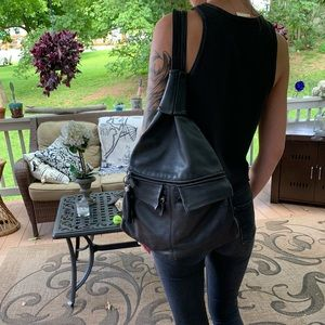 Vintage black leather convertible backpack